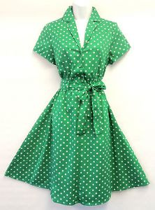 New Green Polka Dot WWII 1940's Vintage style classic Shirt Swing Tea Dress